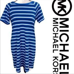 Michael Kors Blue Striped T-Shirt Dress Small NWT
